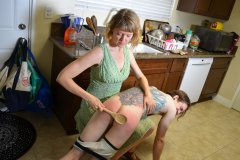 Kade Spanked in Kitchen by Mom