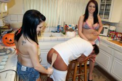 Logan Spanked by Girlfriend & Her Big Sister