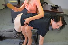 Tristan Spanked In Office